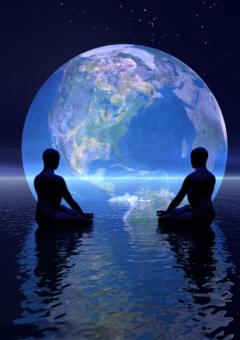 two people meditating with earth